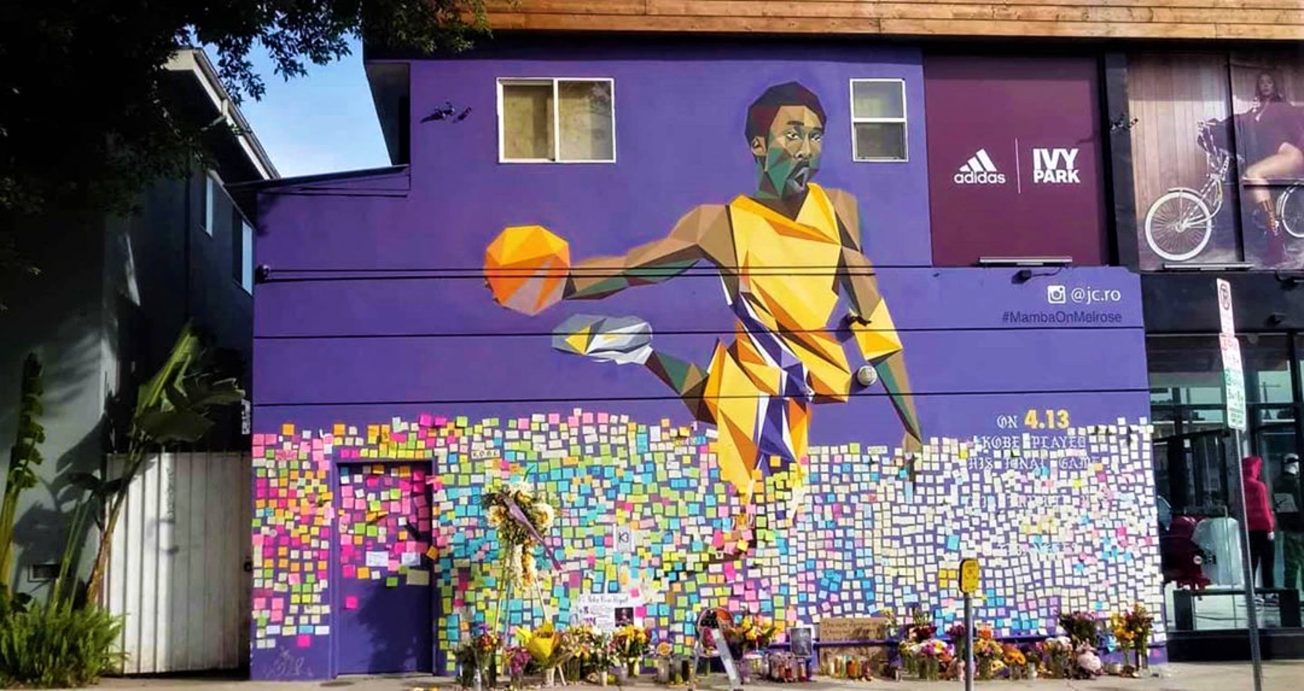 Kobe Bryant mural by JCRo at Shoe Palace on Melrose Avenue