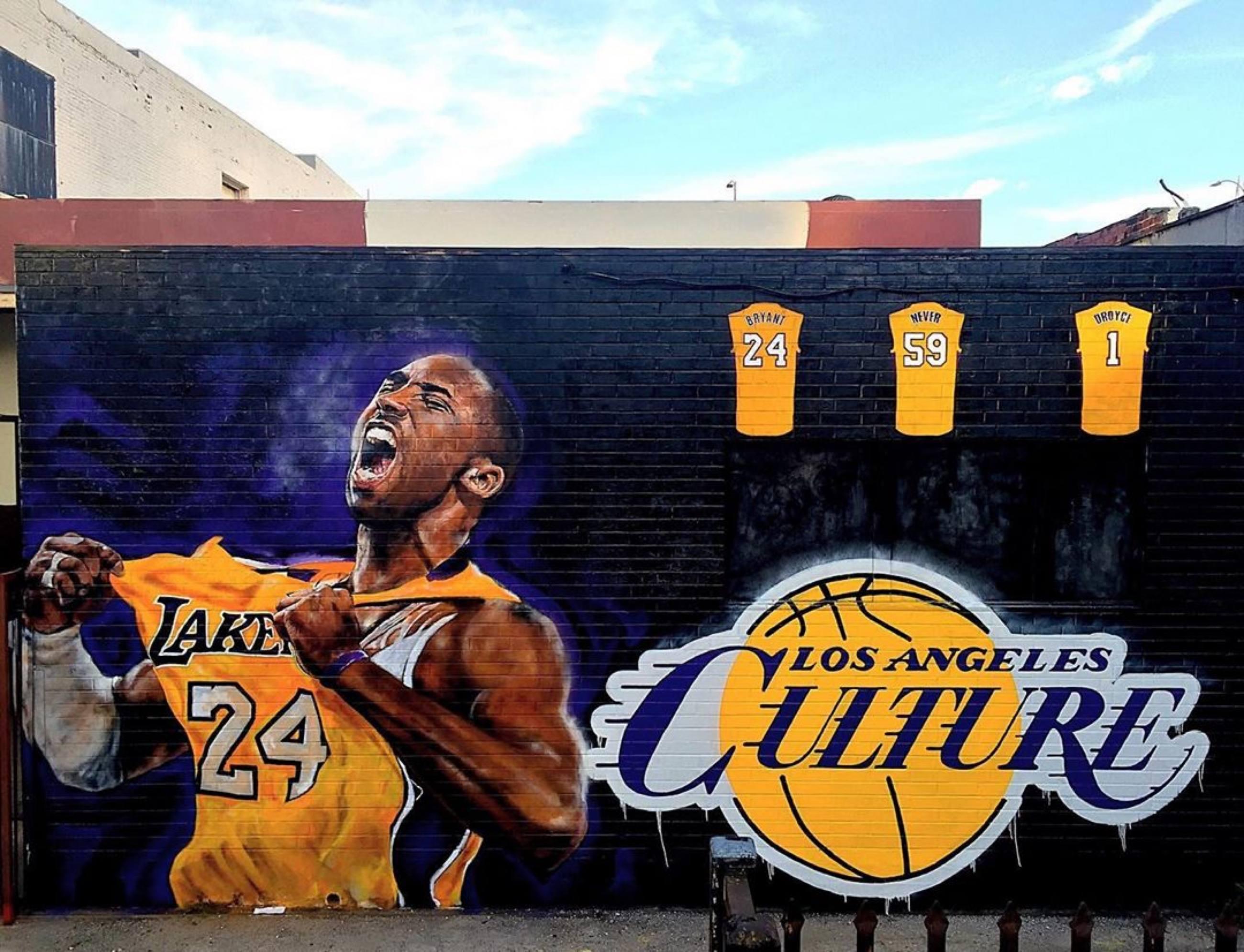 Kobe Bryant mural by Jonas Never on Lebanon Street in Downtown LA