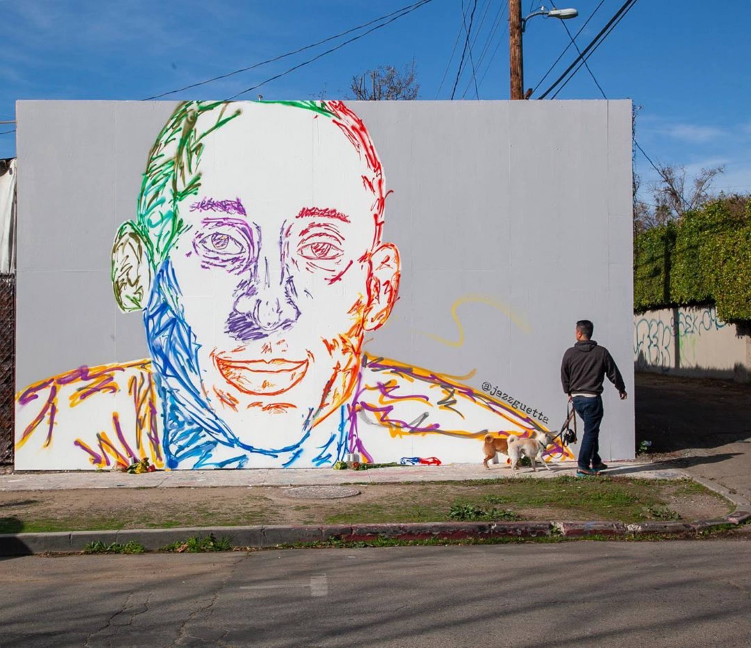 "Kobe Bryant mural by Jazz Guetta at ""The Melrose Wall"" on Spaulding"