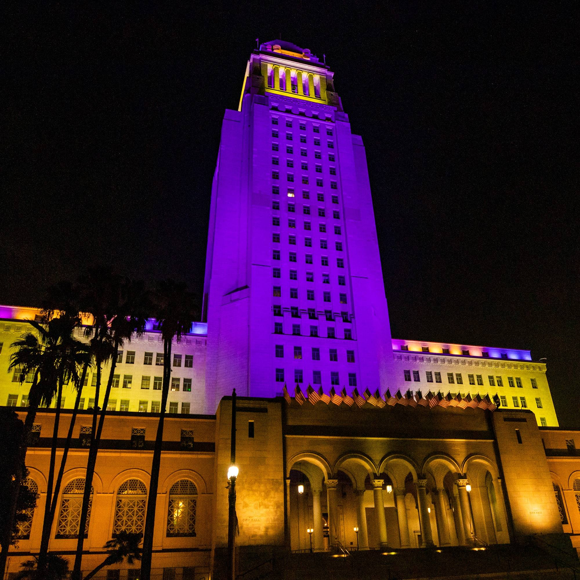 LA City Hall lit up in purple and gold in honor of Kobe Bryant