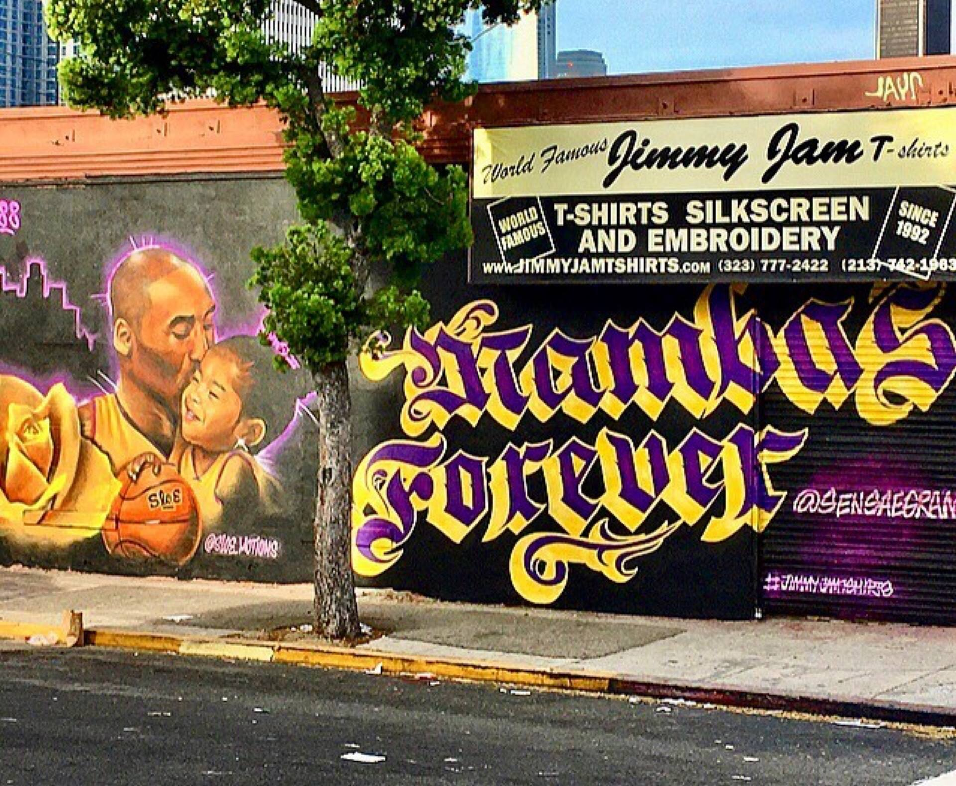 """Mambas Forever"" Kobe and Gianna Bryant mural in the LA Fashion District"