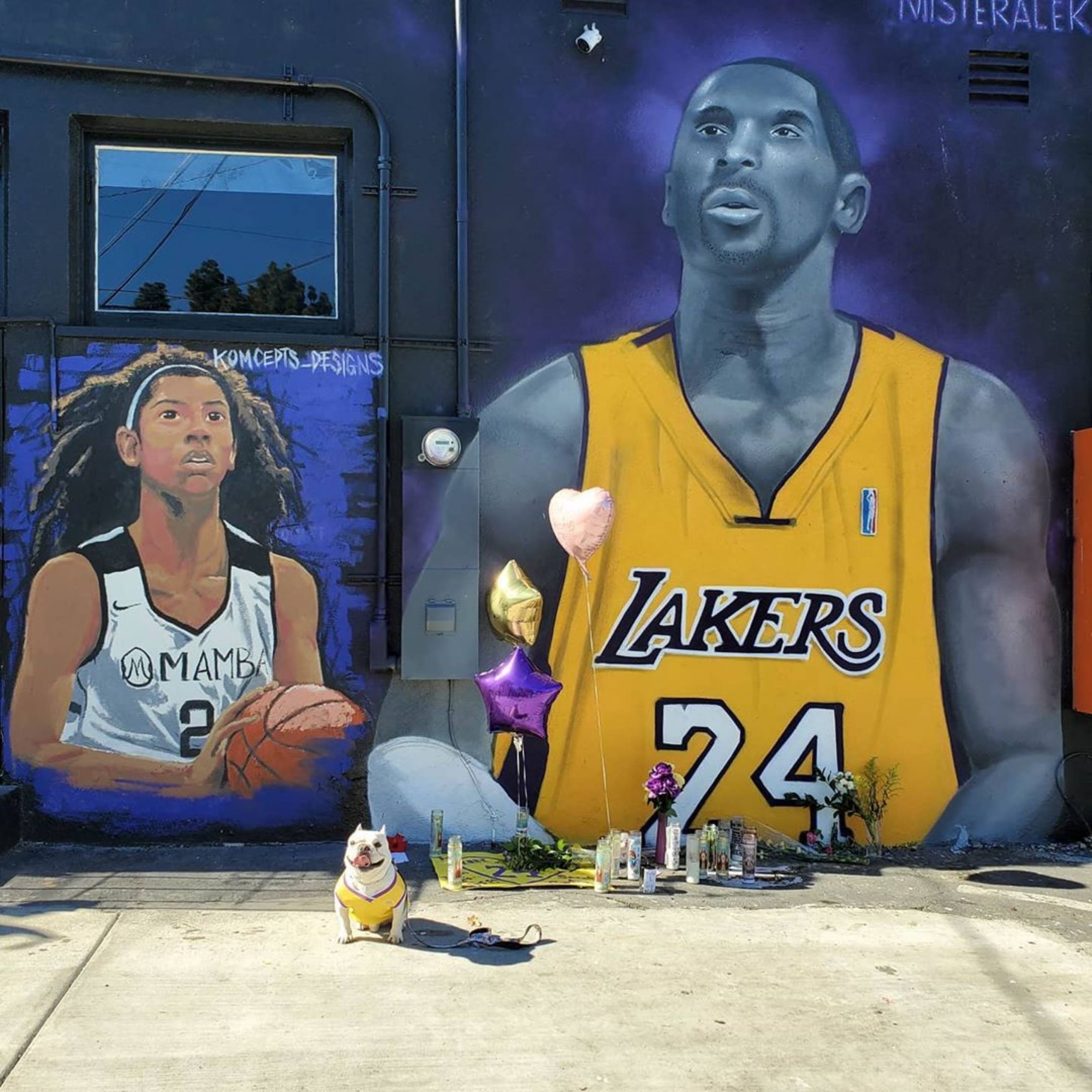 Kobe and Gianna Bryant murals at Priority Barber Club in Signal Hill