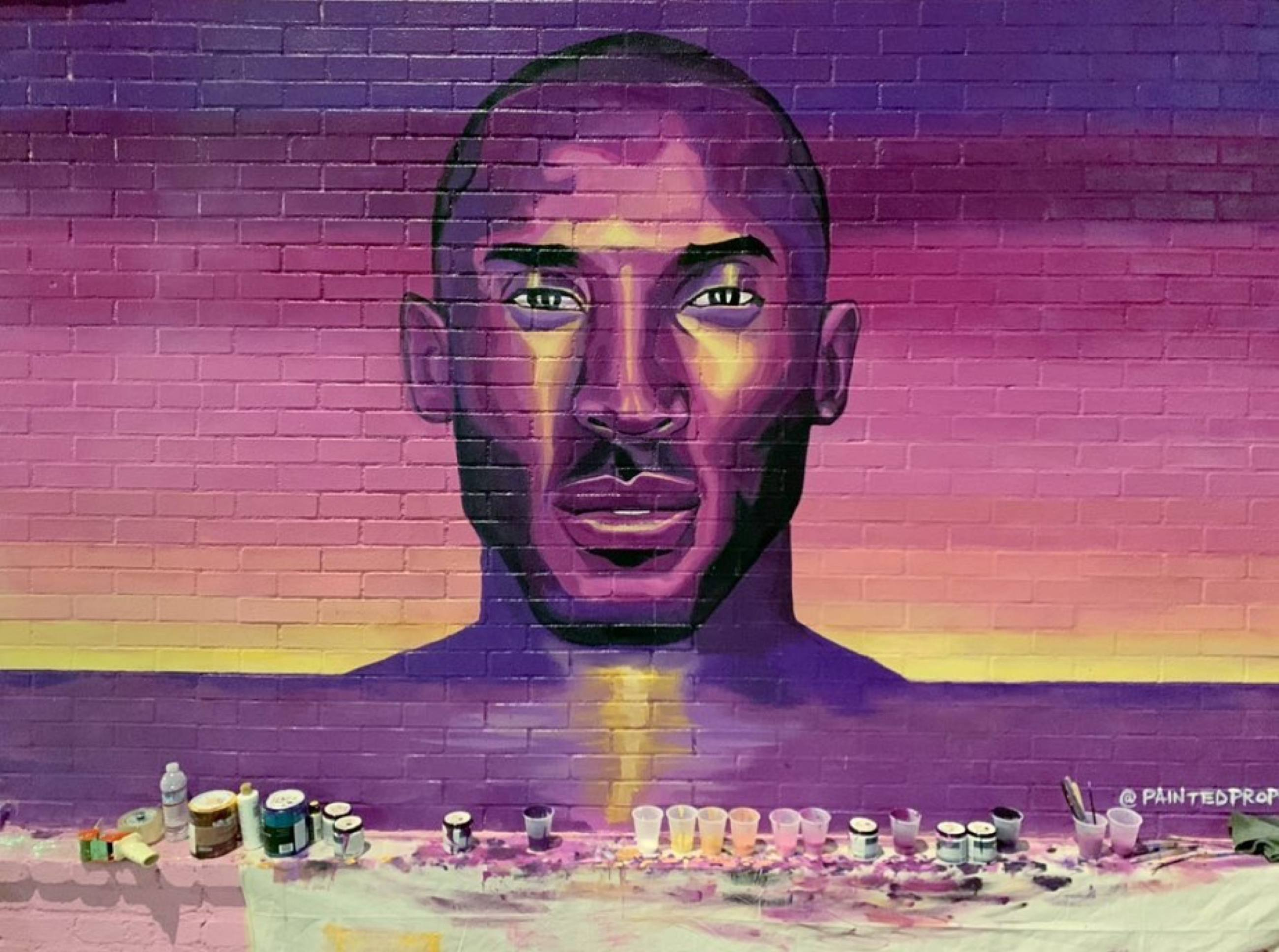 Kobe Bryant mural by Painted Prophet at Sorella Boutique (in progress)