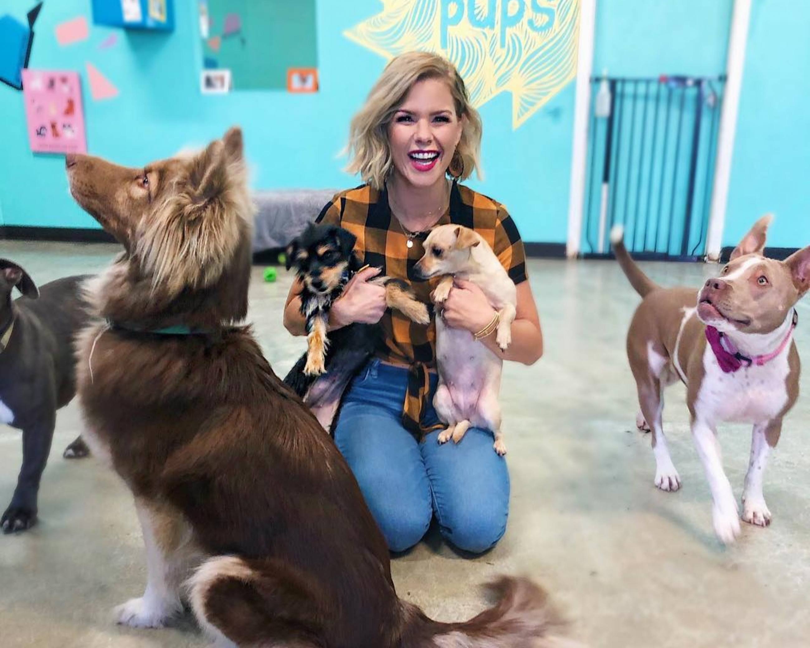 NBC's Kim Caldwell surrounded by puppies at The Dog Cafe in Silver Lake