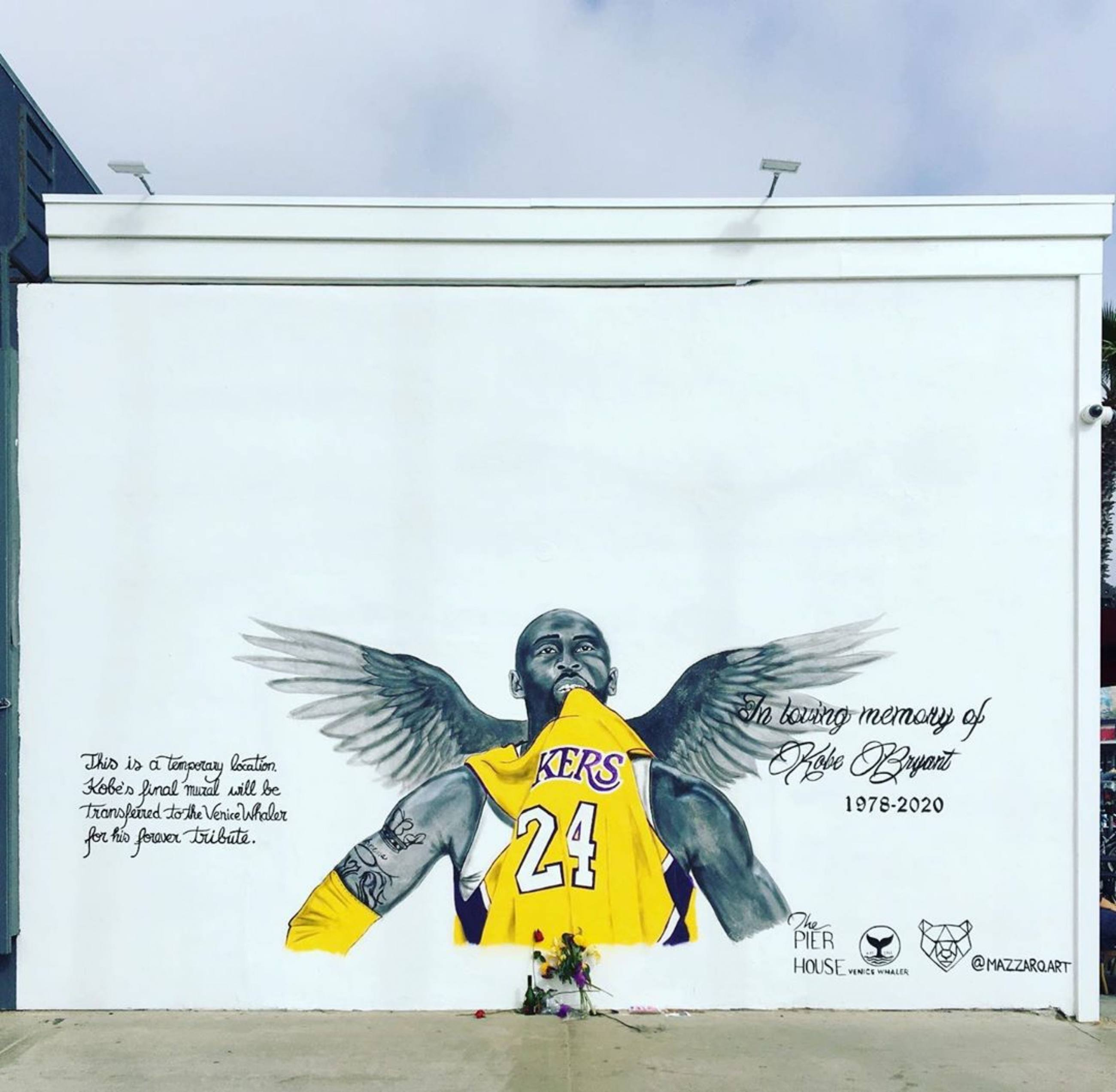 Kobe Bryant mural by Sophie Mazzaro at The Pier House in Venice