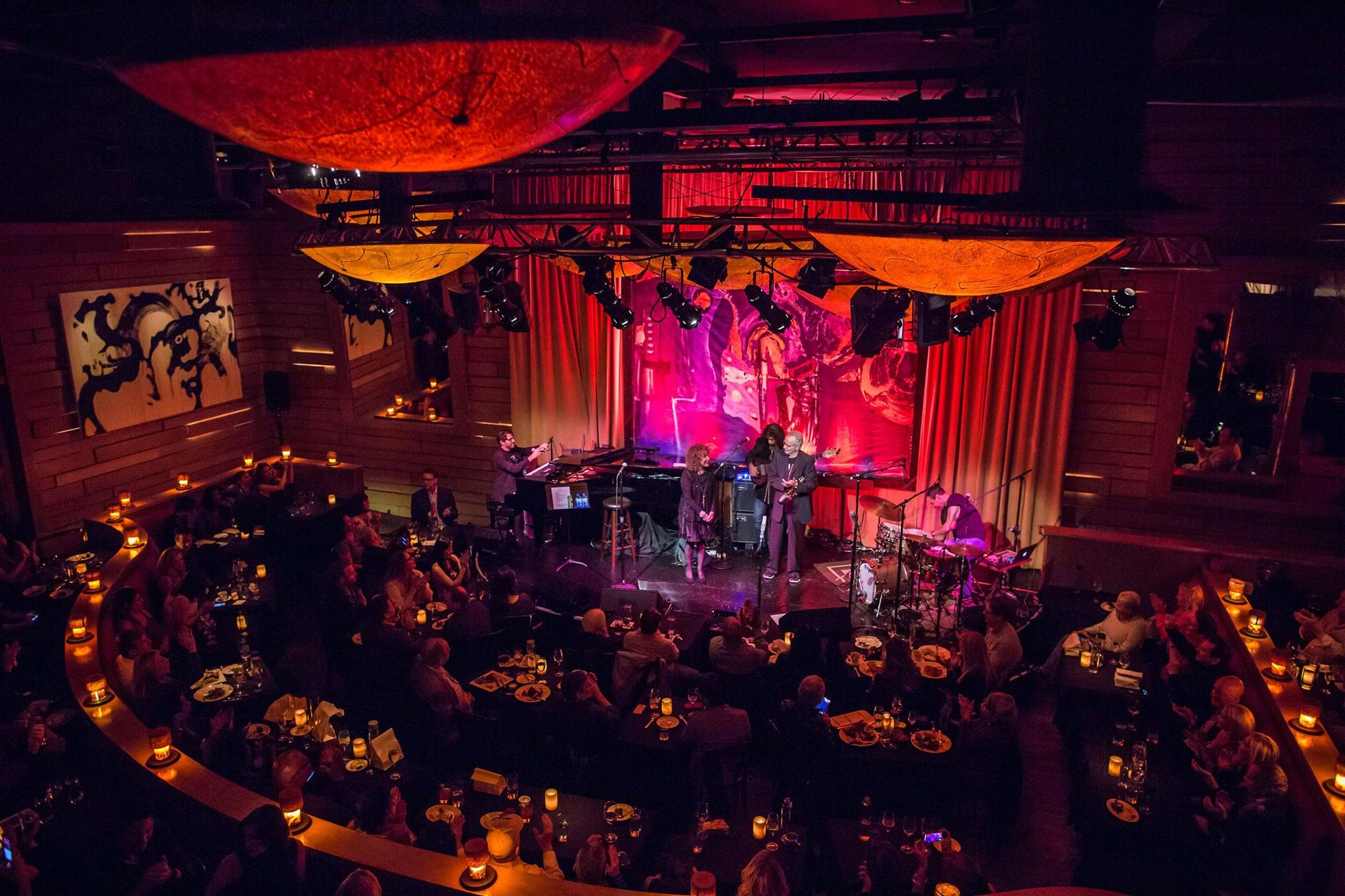 Herb Alpert and Lani Hall on stage at Vibrato Grill in Bel-Air