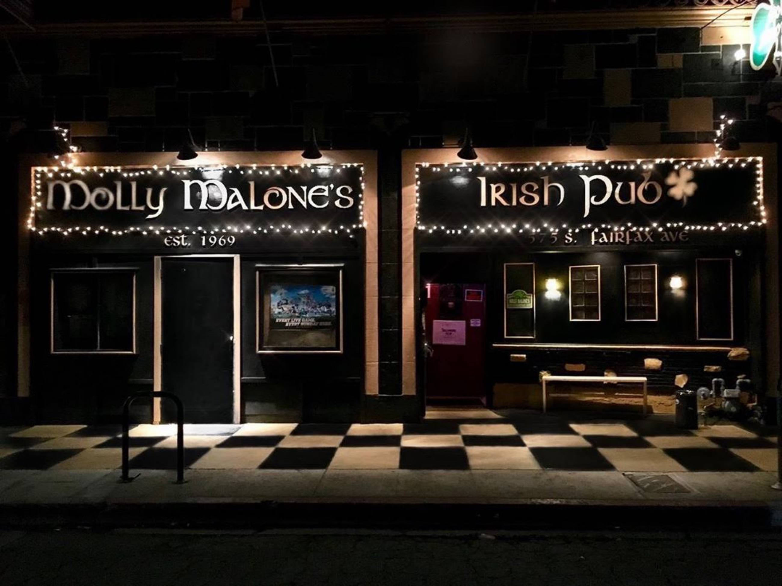Exterior of Molly Malone's Irish Pub at night