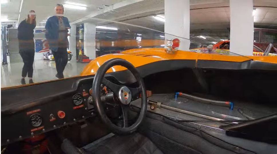 View from the driver's seat of the 1971 McLaren M8E/F featured in The Vault Livestream Tour