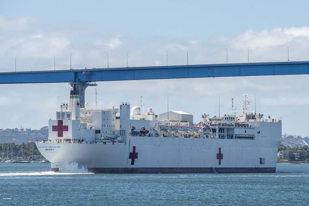 USNS Mercy departs Naval Base San Diego on its way to the Port of Los Angeles
