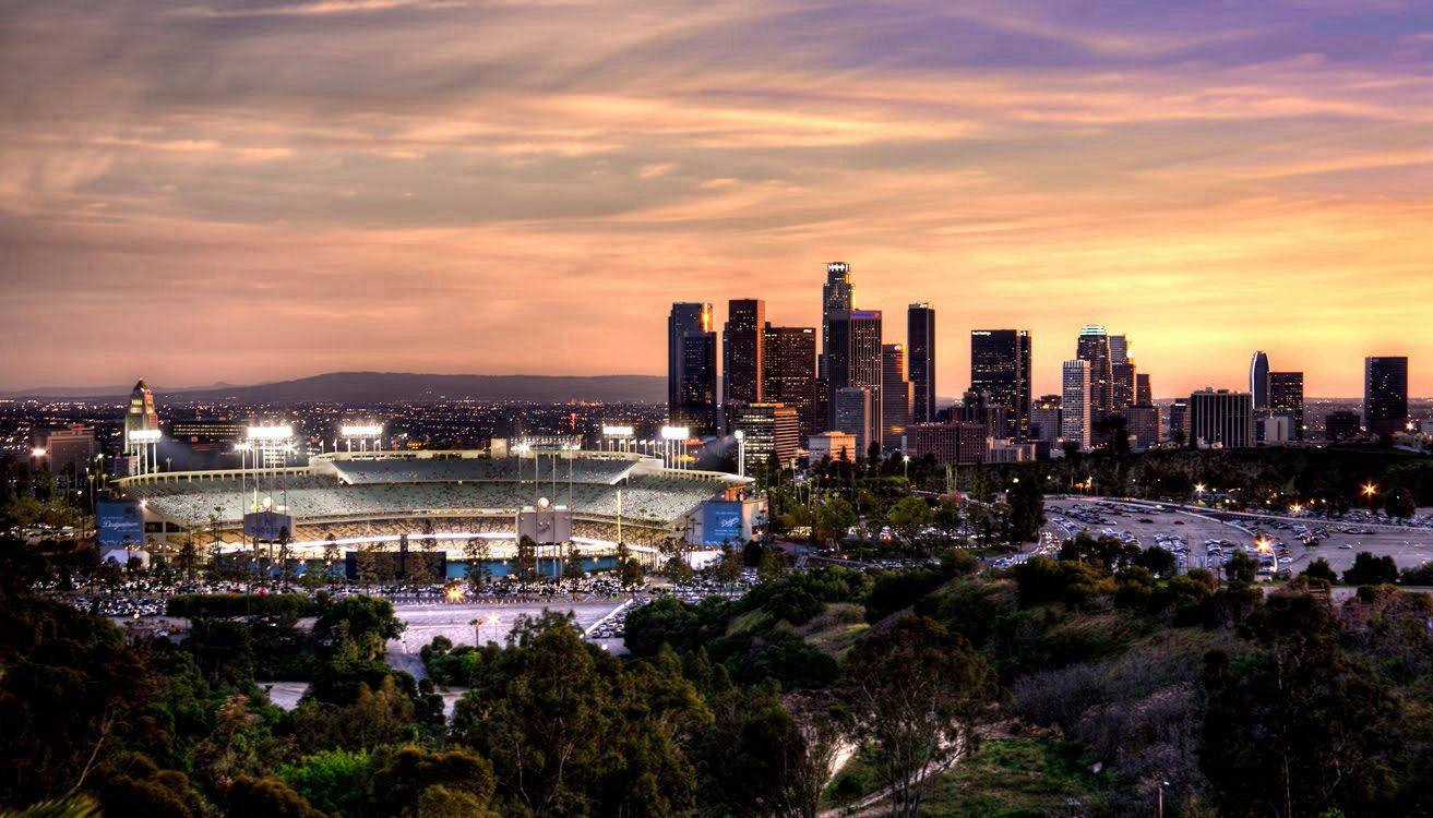 View of Dodger Stadium Under Twilight