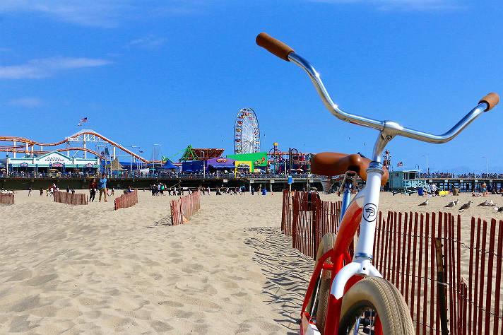 Biking the Strand at Santa Monica Pier