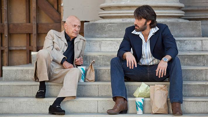 "Alan Arkin and Ben Affleck on the Warner Bros. lot in a scene from ""Argo"" 