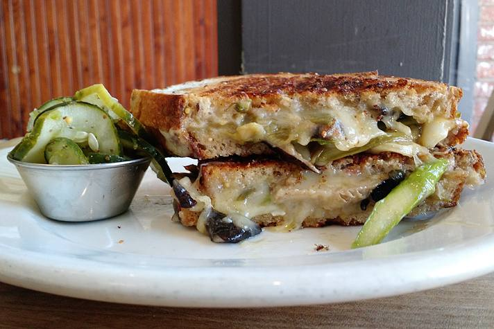 Mushroom and asparagus grilled cheese at Clementine | Photo by Joshua Lurie