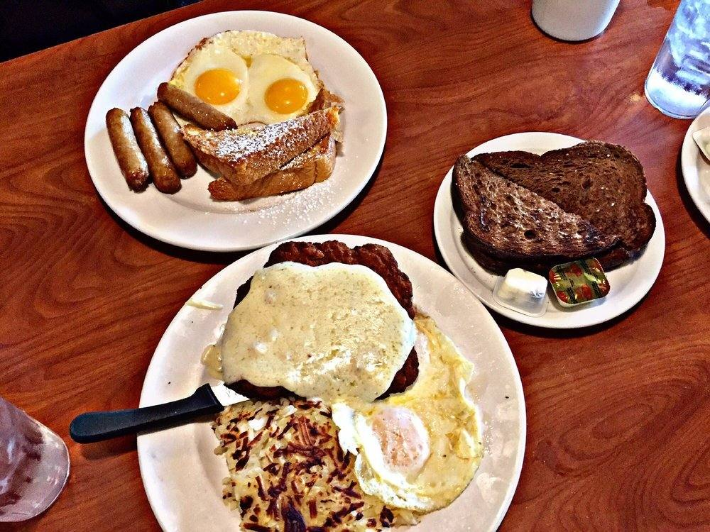 Two Eggs with Country Fried Steak and French Toast Combo at Patys Restaurant | Photo by Princess G., Yelp