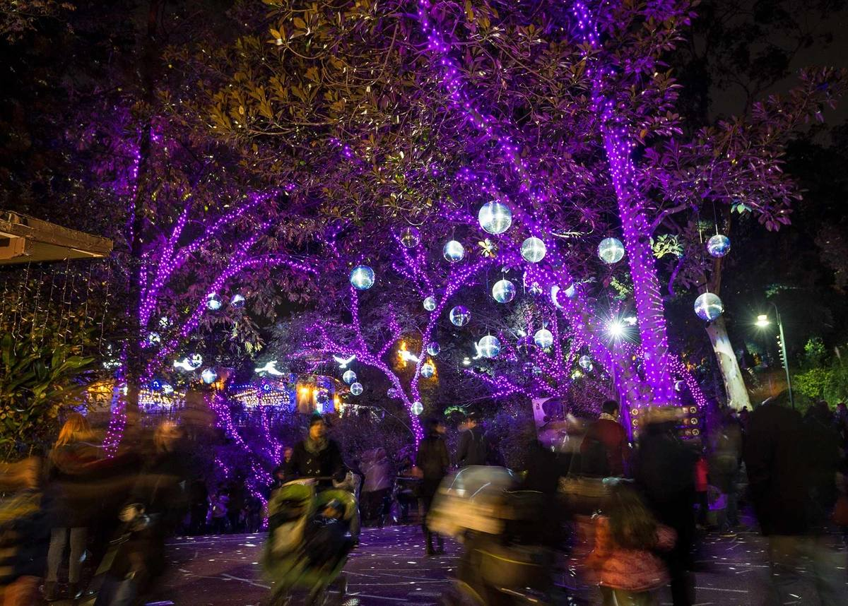Disco Ball Forest at LA Zoo Lights