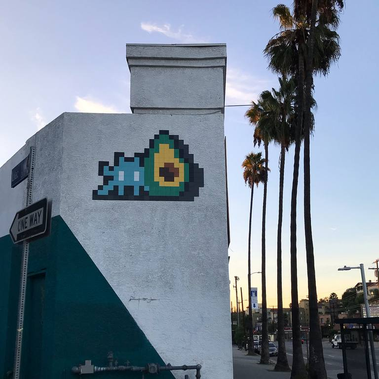 Avocado Invader (LA_202) at PWNshop | Instagram by @invaderwashere