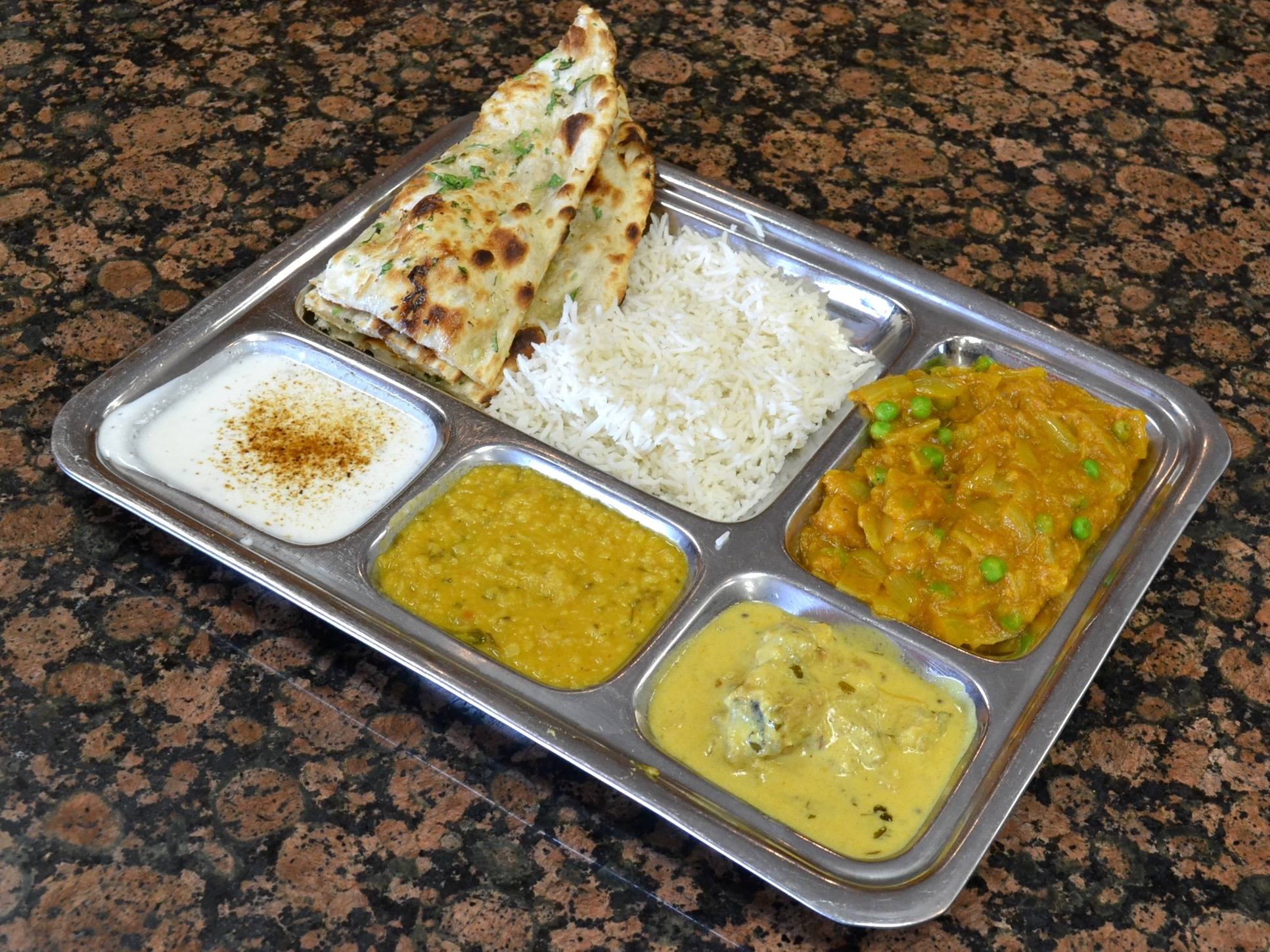 Vegetarian thali at Bhanu Indian Grocery & Cuisine | Photo: Joshua Lurie
