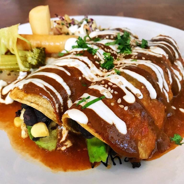 """I Am Elated"" enchiladas at Cafe Gratitude in Venice"