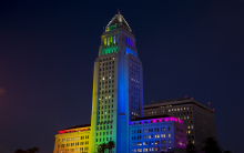 Los Angeles City Hall Pride Flag at night