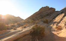 Sunset hiker at Vasquez Rocks Natural Area