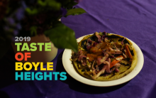 Taste of Boyle Heights is written out next to a street taco