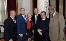 From left to right: Councilmember Joe Buscaino, District 15; LATMD Chairman Javier Cano; Los Angeles Tourism SVP of Business Affairs Patti MacJennett; Los Angeles Tourism President & CEO Ernest Wooden Jr.; LACTD Executive Director Doane Liu; Councilmember Curren D. Price, Jr., District 9