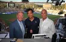 Vin Scully, Jon SooHoo and Sandy Koufax at Dodger Stadium in August 2012