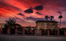 The Abbey Food & Bar exterior sunset